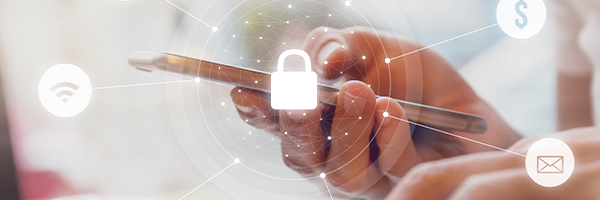 Icons representing digital security superimposed over a close up on a hand holding a smartphone